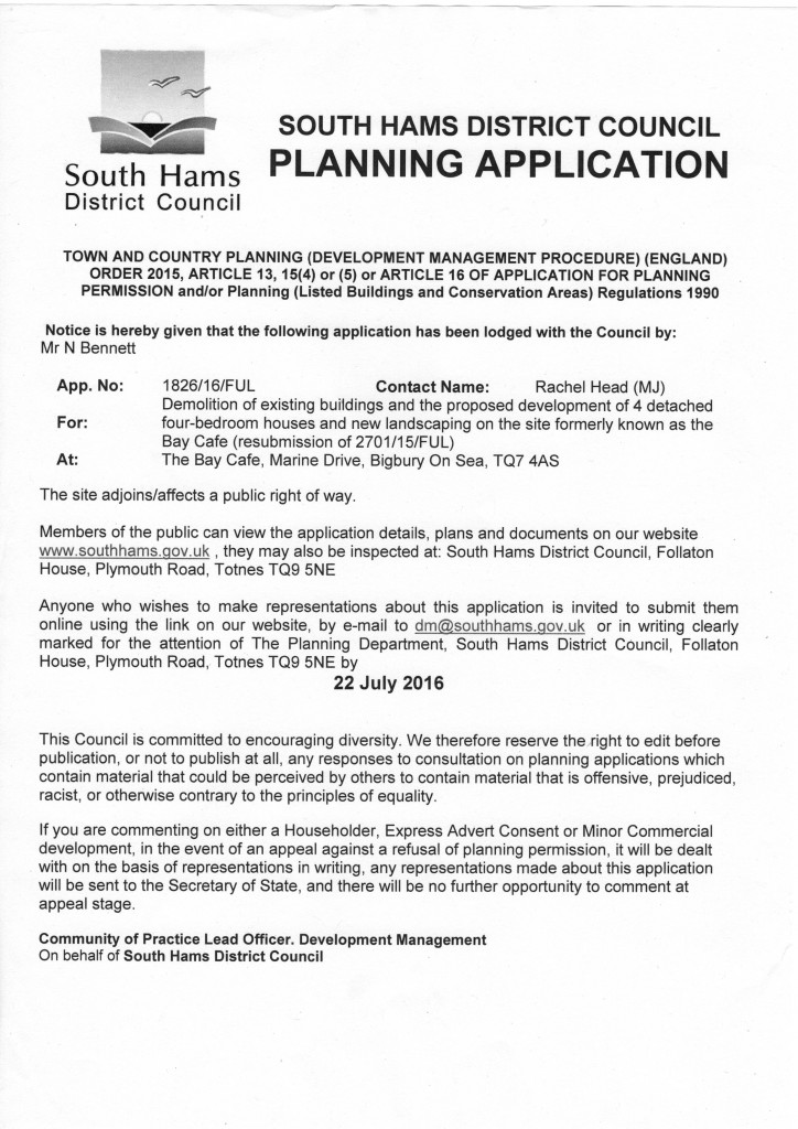 BAY CAFE SITE – PLANNING APPLICATION (REVISED)
