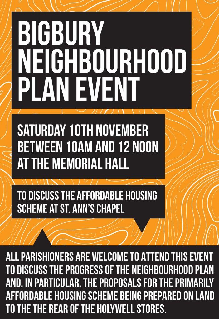 NEIGHBOURHOOD PLAN EVENT – Saturday 10th November , 10am-12noon