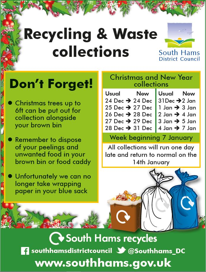 Rubbish collection dates for Christmas